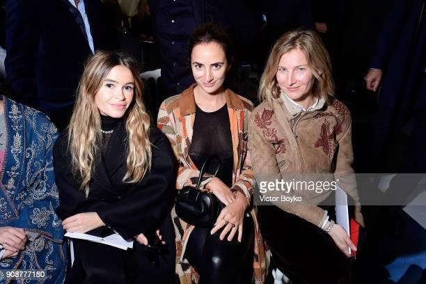 Miroslava Duma Alexia Niedzielski and Elizabeth von Guttman attend the Christian Dior Haute Couture Spring Summer 2018 show as part of Paris Fashion...
