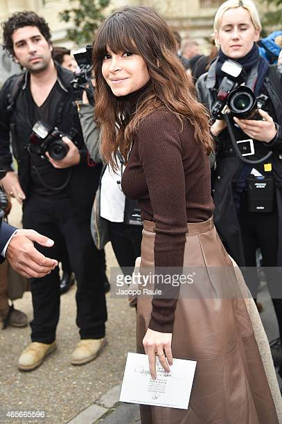 Miroslava Duma arrives at Giambattista Valli Fashion Show during Paris Fashion Week Fall Winter 2015/2016 on March 9 2015 in Paris France