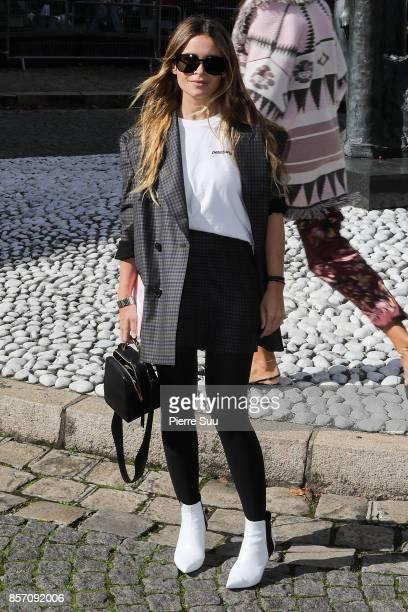 Miroslava Duma arrives at the Miu Miu show as part of the Paris Fashion Week Womenswear Spring/Summer 2018 on October 3 2017 in Paris France