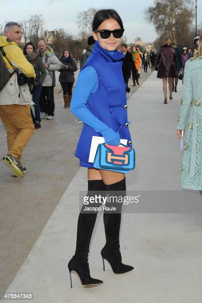 Miroslava Duma arrives at the Nina Ricci show as part of the Paris Fashion Week Womenswear Fall/Winter 20142015 on February 27 2014 in Paris France