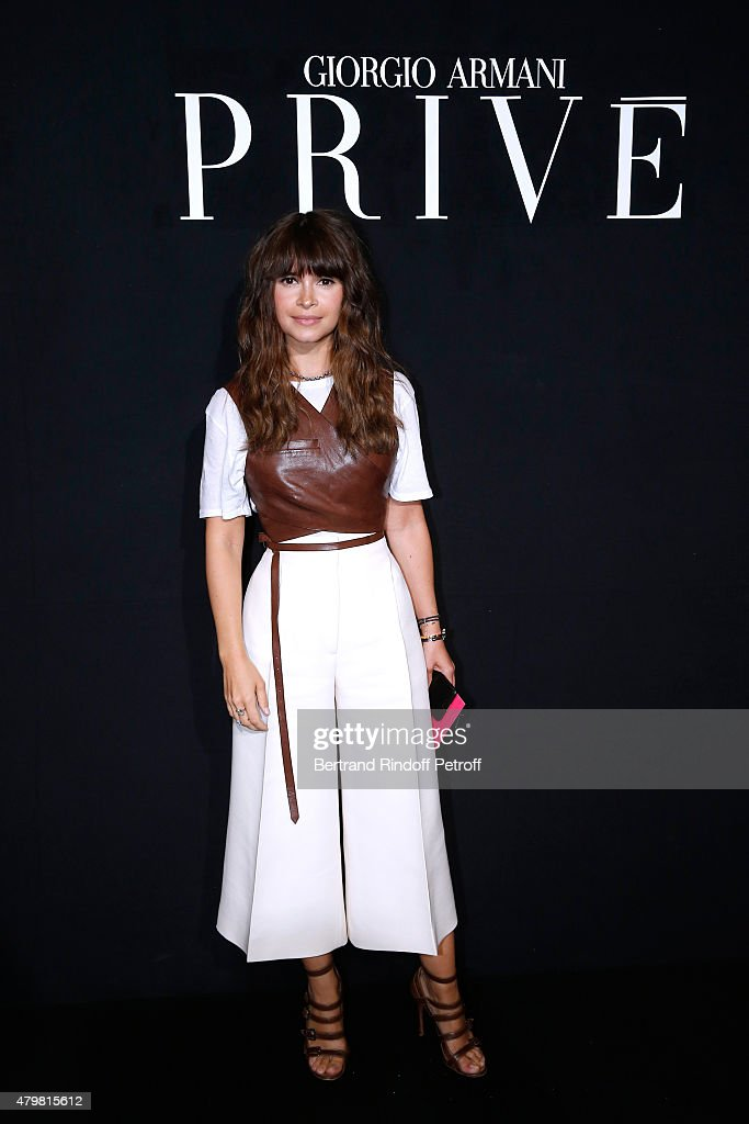 Miroslava Duma attends the Giorgio Armani Prive show as part of Paris Fashion Week Haute-Couture Fall/Winter 2015/2016. Held at Palais de Chaillot on July 7, 2015 in Paris, France.