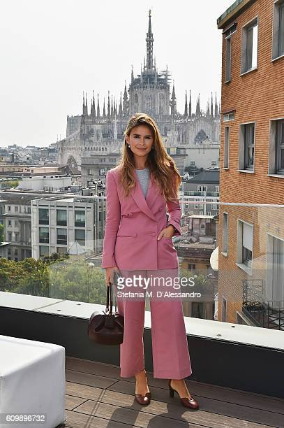 Miroslava Duma attends the Rene Caovilla Presentation during Milan Fashion Week Spring/Summer 2017 on September 23 2016 in Milan Italy