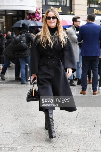 Miroslava Duma is seen arriving at Schiaparelli Fashion show during Paris Fashion Week Haute Couture Spring/Summer 2018 on January 22 2018 in Paris...