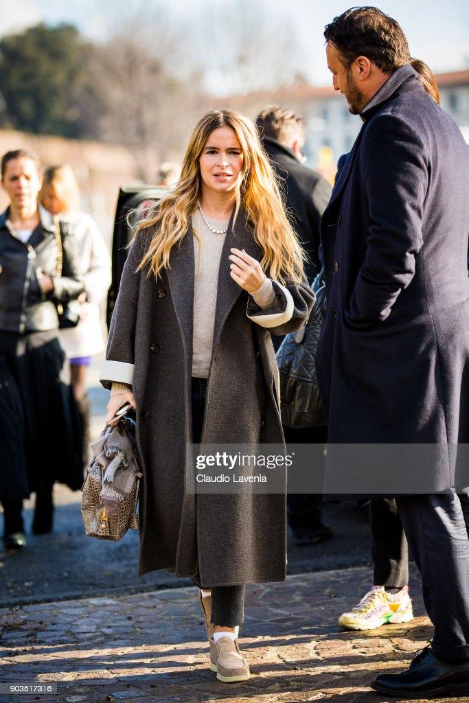 Miroslava Duma is seen during the 93. Pitti Immagine Uomo at Fortezza Da Basso on January 10, 2018 in Florence, Italy.