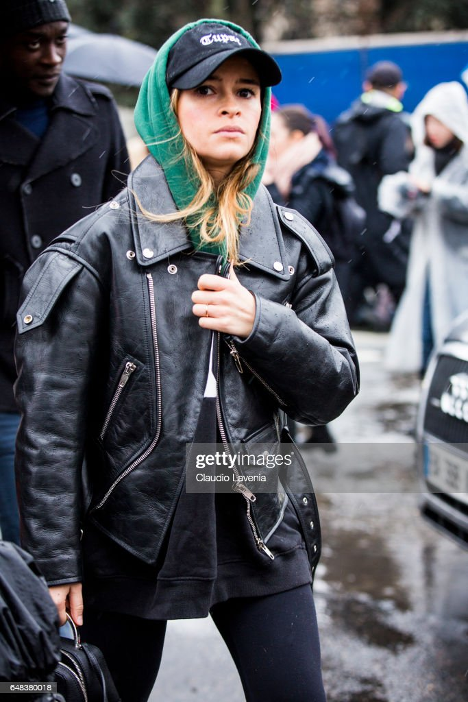 Miroslava Duma is seen in the streets of Paris before the Celine show during Paris Fashion Week Womenswear Fall/Winter 2017/2018 on March 5, 2017 in Paris, France.
