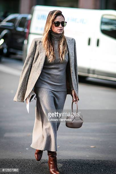 Miroslava Duma is seen outside of the Giambattista Valli show during Paris Fashion Week Spring Summer 2017 at Grand Palais on October 3 2016 in Paris...