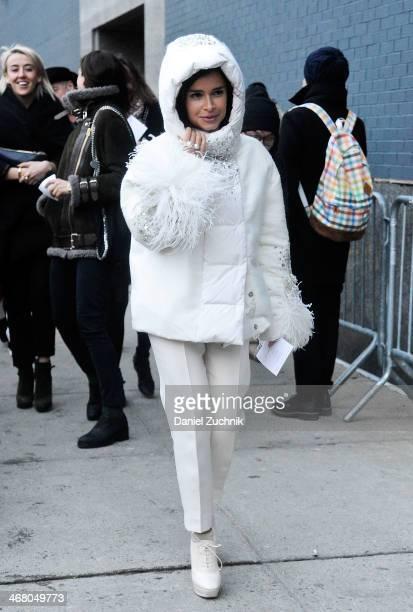 Miroslava Duma is seen outside the Altuzarra show wearing a Moncler jacket on February 8 2014 in New York City