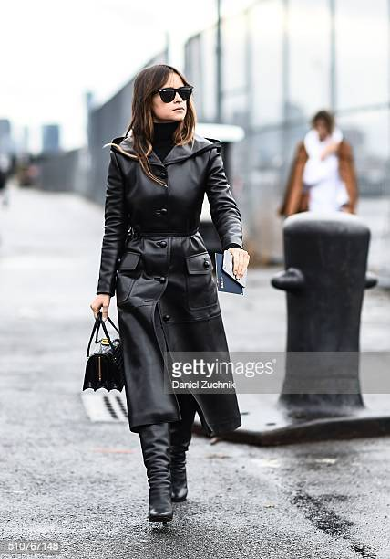 Miroslava Duma is seen outside the Coach show wearing a black leather coat during New York Fashion Week Women's Fall/Winter 2016 on February 16 2016...