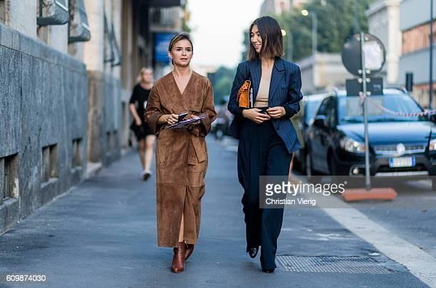 Miroslava Duma outside Prada during Milan Fashion Week Spring/Summer 2017 on September 22 2016 in Milan Italy