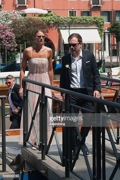 Miroslava Najdanovski and guest arrive at the wedding hall at Palazzo Cavalli for the celebration of Bastian Schweinsteiger and Ana Ivanovic marriage...