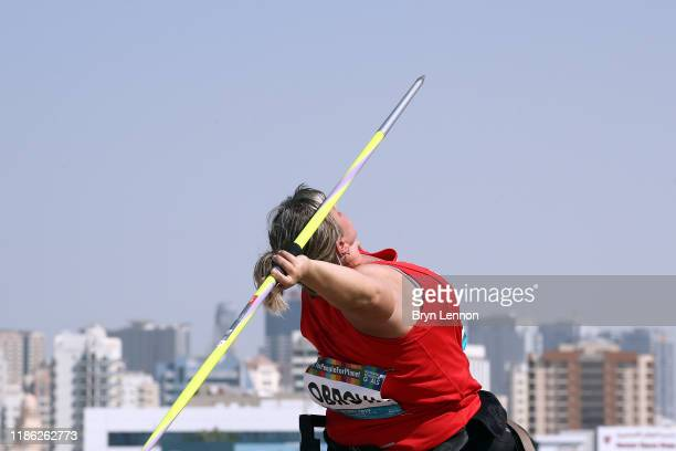 Miroslava Obrova of The Czech Republic throws in the Women's Javelin F56 during Day Two of the IPC World Para Athletics Championships 2019 Dubai on...