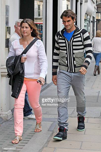 Miroslava Vavrinec and Roger Federer seen shopping on Bond St on June 19, 2012 in London, England.