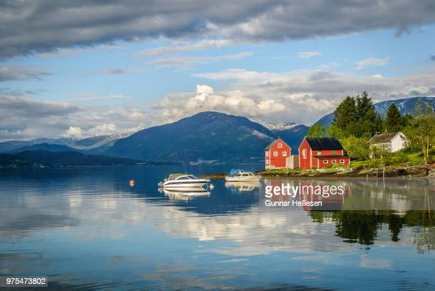 mirror fjord - gunnar helliesen stock pictures, royalty-free photos & images