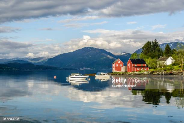 mirror fjord (revisited) - gunnar helliesen stock pictures, royalty-free photos & images
