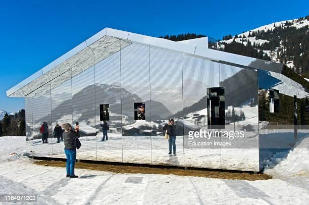 Mirror house Mirage Gstaad by Doug Aitken Art Exhibition Elevation 1049 Frequencies Gstaad Switzerland