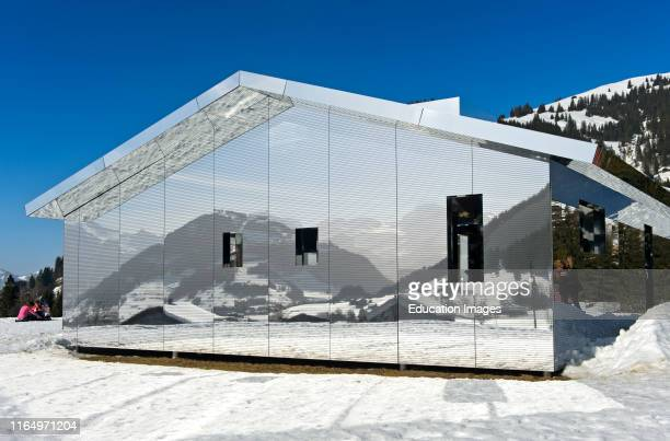 Mirror house Mirage Gstaad by Doug Aitken, Art Exhibition Elevation 1049: Frequencies, Gstaad, Switzerland.
