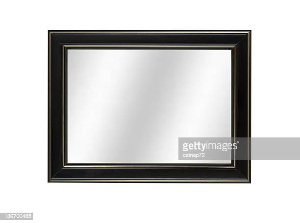 mirror in black picture frame, contemporary style, white isolated - black border stock pictures, royalty-free photos & images