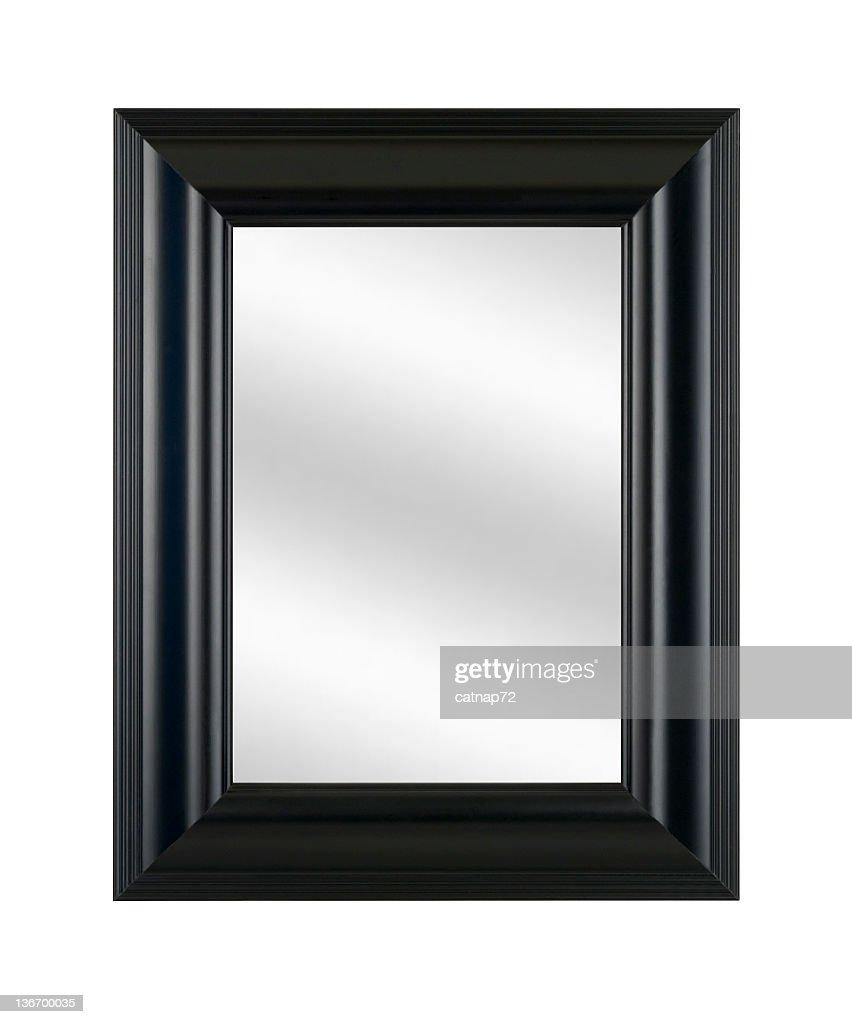ブラックの写真フレームのミラー、モダンなスタイルのインテリア、ホワイトの絶縁 : ストックフォト