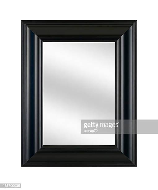 Mirror in Black Picture Frame, Modern Style Decor, White Isolated