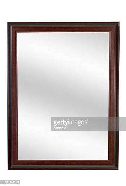 Mirror in Brown Picture Frame, Plain, White Isolated
