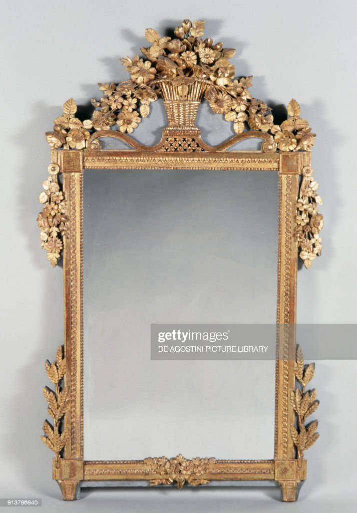 Mirror In Louis XVI Style, Carved And Golden Wood. France, 17th 18th