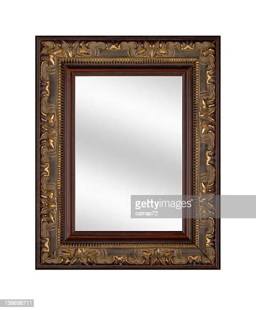 mirror in picture frame, elegant and fancy, white isolated - mirror frame stock photos and pictures