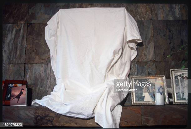 Mirror is covered by a white cloth during the ritual of sitting Shiva, a period of Jewish mourning circa 1998.
