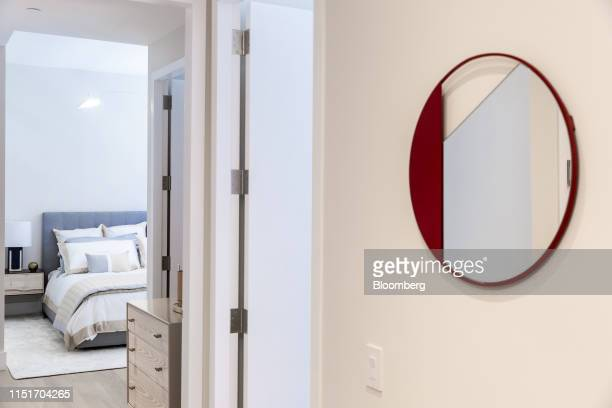 A mirror is displayed outside the bedroom of an apartment unit in the AvalonBay Communities Inc Park Loggia condominium at 15 West 61 Street in New...