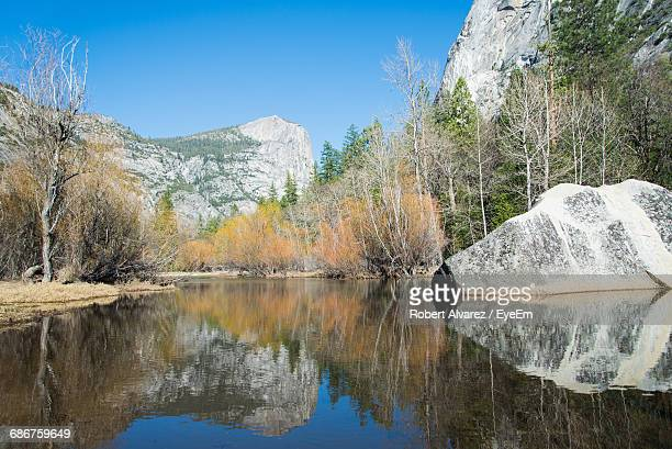 mirror lake at yosemite national park against clear sky - mirror lake stock pictures, royalty-free photos & images