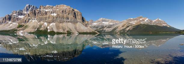 mirror lake in canadian rockies - inoue stock photos and pictures
