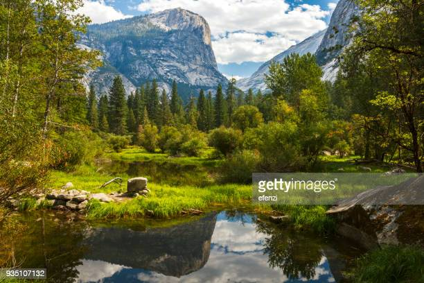 mirror lake in yosemite national park - yosemite national park stock pictures, royalty-free photos & images