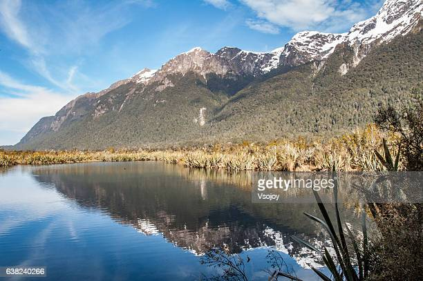 mirror lakes, milford sound, south island, new zealand - vsojoy stock pictures, royalty-free photos & images