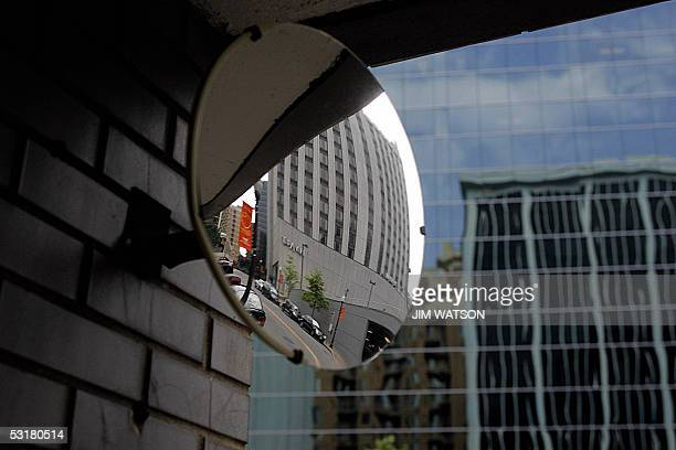 A mirror looks out onto Wilson Blvd now Nash Street 01 July 2005 in Rosslyn VA from the garage where Washington Post reporter Bob Woodward had his...
