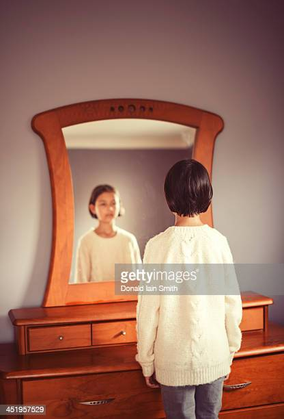 mirror, mirror - girl in mirror stock photos and pictures