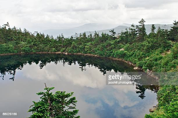 mirror pond - iwate prefecture stock photos and pictures