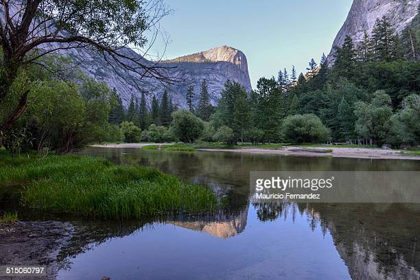 Mirror Pool in Yosemite at Sunset looking at Half Dome.