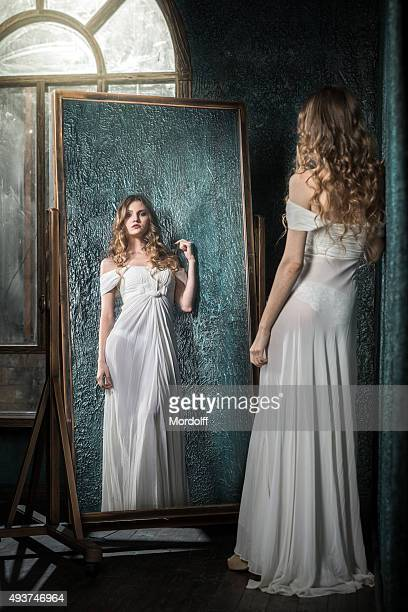 Mirror Reflection Of Beautiful Girl