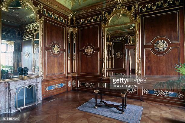 Mirror salon with wood panelling Valtice castle LedniceValtice cultural landscape Czech Republic 16th18th century