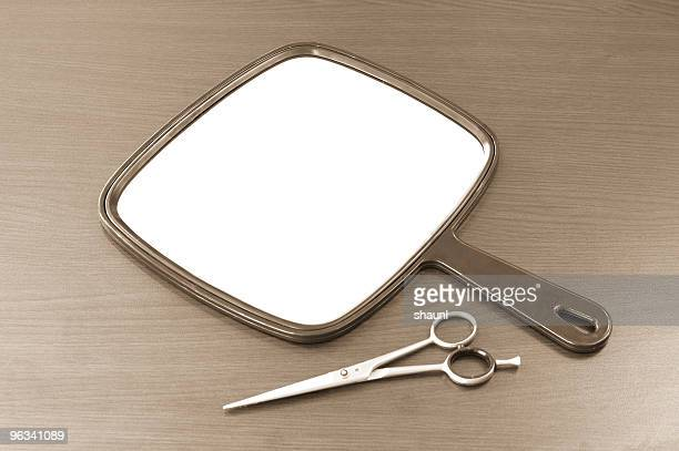 mirror & scissors - hand mirror stock pictures, royalty-free photos & images