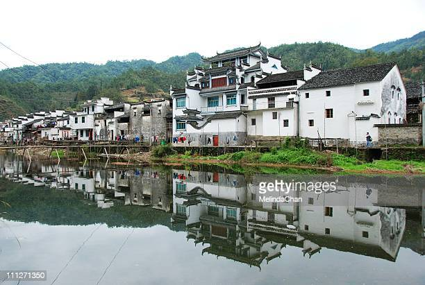 mirror village - jiangxi province stock photos and pictures