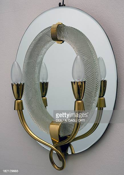 Mirror with light fittings in glass and brass 19401949 Barovier glassworks Murano Italy 20th century