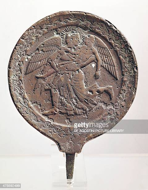 Mirror with relief decoration depicting the Greek goddess Eos carrying off Cephalus ca 470 BC from Vulci Lazio Italy Etruscan civilisation 5th...