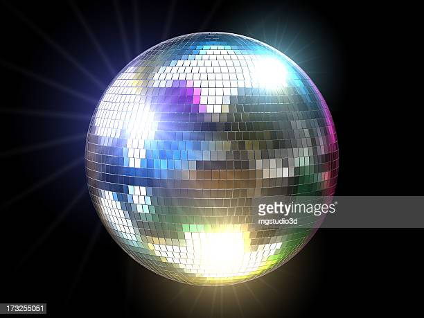 Mirrored disco ball reflecting colored lights