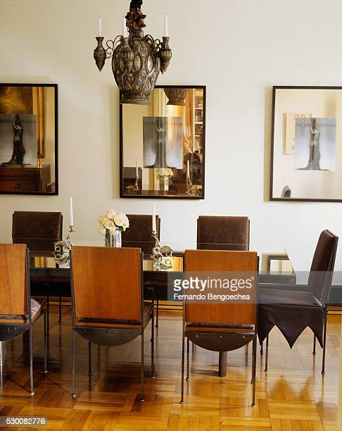 Mirrored Frames and Tabletop in Dining Room