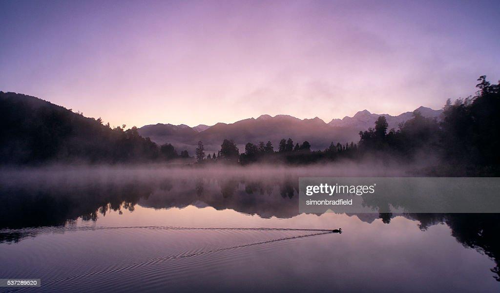 Mirror-like Lake Matheson In New Zealand : Stock Photo