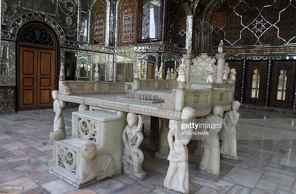 Mirrors and sculptures decorate Tehran's Golestan Palace (The Rose Garden Palace) as the nation celebrates its inscription on the UNESCO World Heritage List on July 7, 2013. The palace, built in the 16th century, is a masterpiece of the art of the Qajar period.