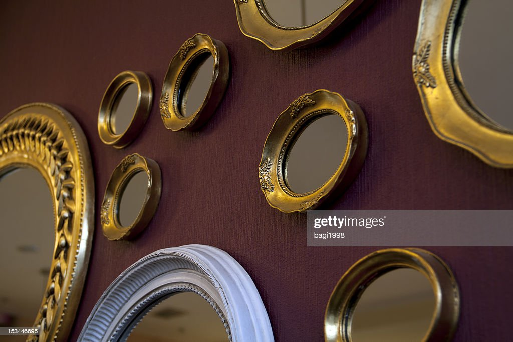 Mirrors frame on the wall : Stock Photo