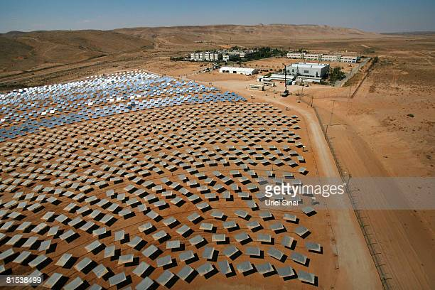 Mirrors point to the sky at a solar energy development centre in Rotem industrial park June 12 2008 near the southern Israeli town of Dimona The...