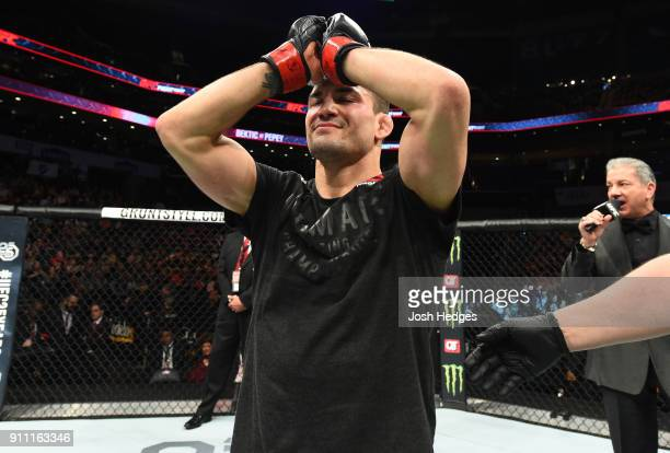 Mirsad Bektic of Bosnia celebrates his victory over Godofredo Pepey of Brazil in their featherweight bout during a UFC Fight Night event at Spectrum...
