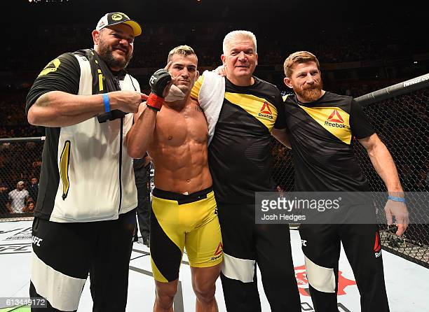 Mirsad Bektic of Bosnia celebrates his victory over Russell Doane in their featherweight bout during the UFC 204 Fight Night at the Manchester...